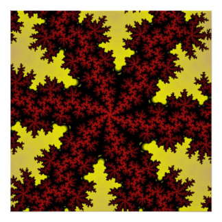 Red Yellow Snowflake Poster