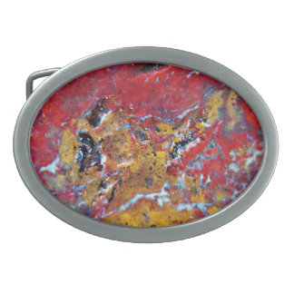 Red yellow stone marble belt buckle
