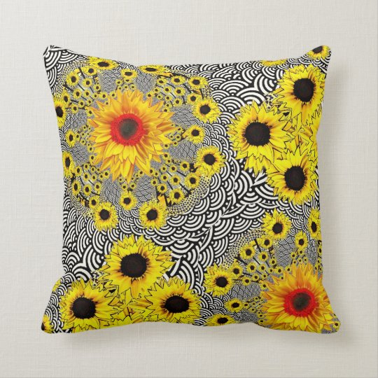 Red-Yellow Sunflower Black Pattern Pillow