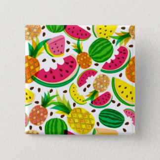 Red & Yellow Tropical Fruit Pattern 2 Inch Square Button