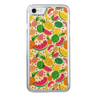 Red & Yellow Tropical Fruit Pattern Carved iPhone 8/7 Case