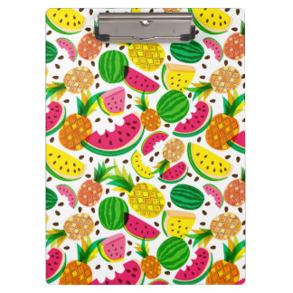 Red & Yellow Tropical Fruit Pattern Clipboard