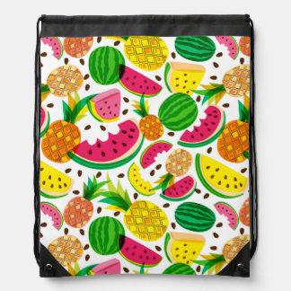 Red & Yellow Tropical Fruit Pattern Drawstring Bag