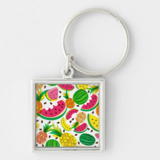 Red & Yellow Tropical Fruit Pattern Keychain