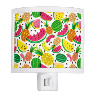 Red & Yellow Tropical Fruit Pattern Night Lite