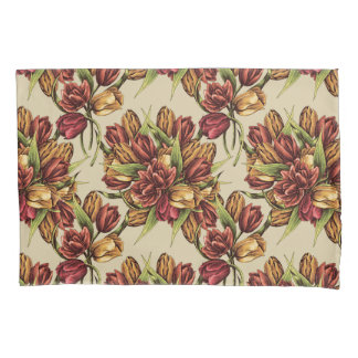 Red yellow Tulips Bouquet Pattern Pillowcase