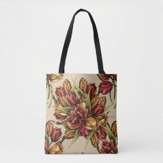 Red yellow Tulips Bouquet Pattern Tote Bag