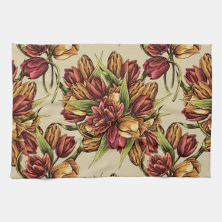 Red yellow Tulips Bouquet Pattern Towels