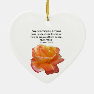 Red Yellow Variegated Rose and Thorn Quote Ceramic Ornament