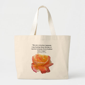 Red Yellow Variegated Rose and Thorn Quote Large Tote Bag