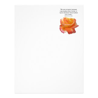 Red Yellow Variegated Rose and Thorn Quote Letterhead