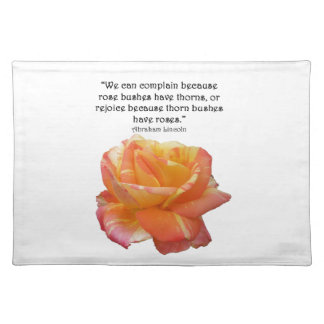 Red Yellow Variegated Rose and Thorn Quote Placemat