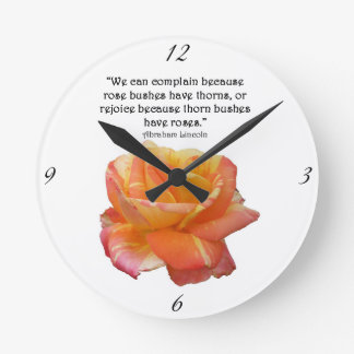 Red Yellow Variegated Rose and Thorn Quote Round Clock