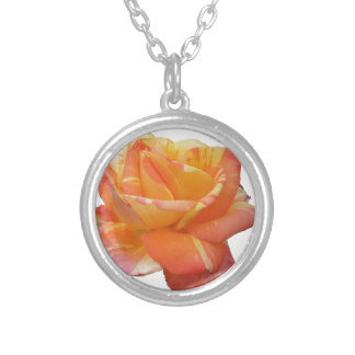 Red Yellow Variegated Rose and Thorn Quote Silver Plated Necklace