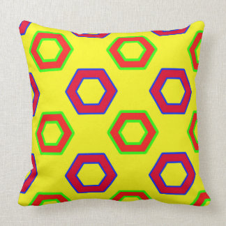 Red & yellow, Vector Hexagon Pattern Throw Pillow