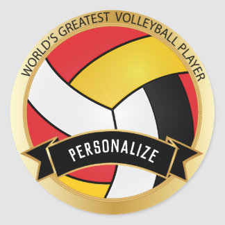 Red, Yellow, White and Black Volleyball | DIY Name Classic Round Sticker