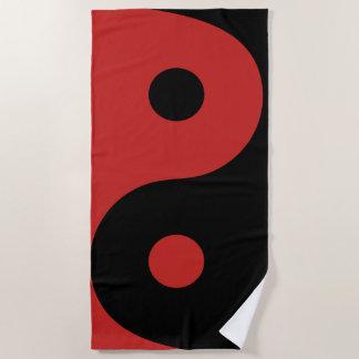 Red Yin Yang Beach Towel