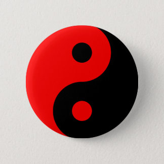 Red Yin Yang Symbol 2 Inch Round Button