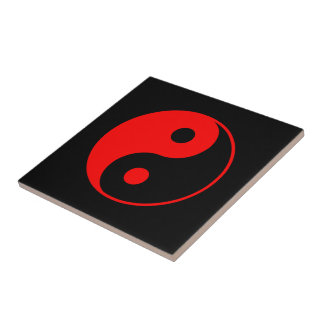 Red Yin Yang Symbol Tiles