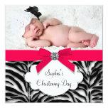 Red Zebra Baby Girl Photo Christening Personalized Invitation