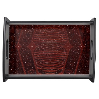 Red Zebra Glitter Abstract Serving Tray