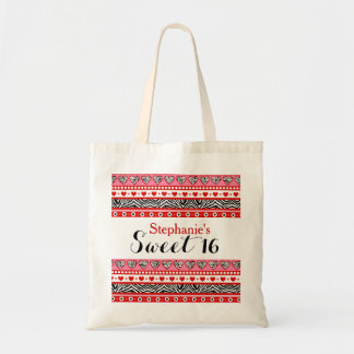 Red zebra heart Sweet 16 Necklace Budget Tote Bag