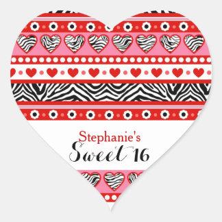 Red zebra heart Sweet 16 Party sticker
