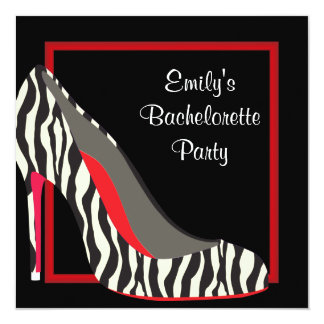 Red Zebra High Heel Shoes Bachelorette Party Card