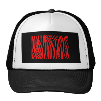 Red Zebra in Black and Red Trucker Hat