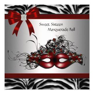 """Red Zebra Masquerade Party 5.25"""" Square Invitation Card"""