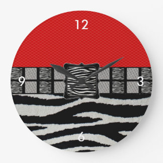 Red Zebra Metal Monogram Large Clock