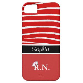 Red Zebra Pattern+Registered Nurse iPhone 5 Cases