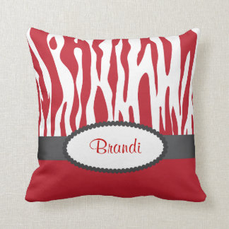 Red Zebra Print American MoJo Throw Pillow