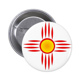 Red Zia Sun God 2 Inch Round Button