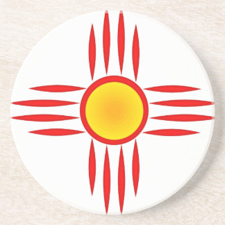 Red Zia Sun God Beverage Coasters