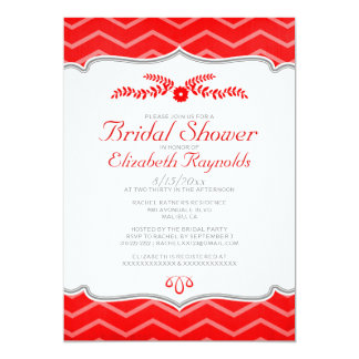Red Zigzag Bridal Shower Invitations