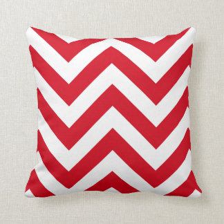 Red Zigzag Chevrons Pattern Throw Pillow