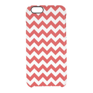 Red Zigzag Stripes Chevron Pattern Clear iPhone 6/6S Case
