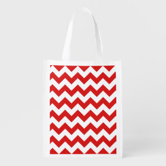 Red Zigzag Stripes Chevron Pattern Grocery Bags