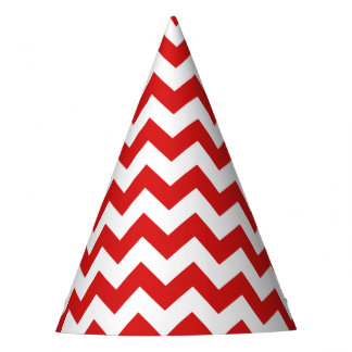 Red Zigzag Stripes Chevron Pattern Party Hat