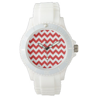 Red Zigzag Stripes Chevron Pattern Wrist Watches