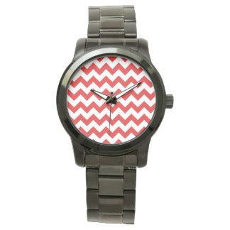 Red Zigzag Stripes Chevron Pattern Wristwatch