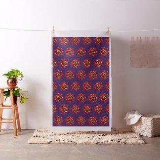 Red Zinnias on Purple Fabric