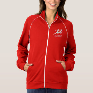 Red zipped sweatshirt with white piping