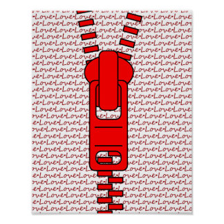 Red Zipper with Love Print