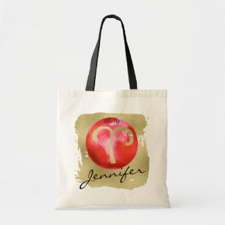 Red Zodiac Sign Aries on Gold Background Tote Bag