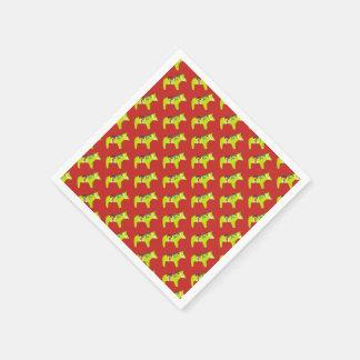 Redand Green Holiday Horses Disposable Napkins