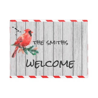 Redbird Winter Welcome Doormat