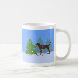 Redbone Coonhound Decorating Christmas Tree Coffee Mug