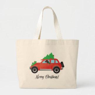 Redbone Hound Driving a Christmas Car Jumbo Tote Bag